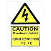 Caution Overhead Cables Height Restriction Signs